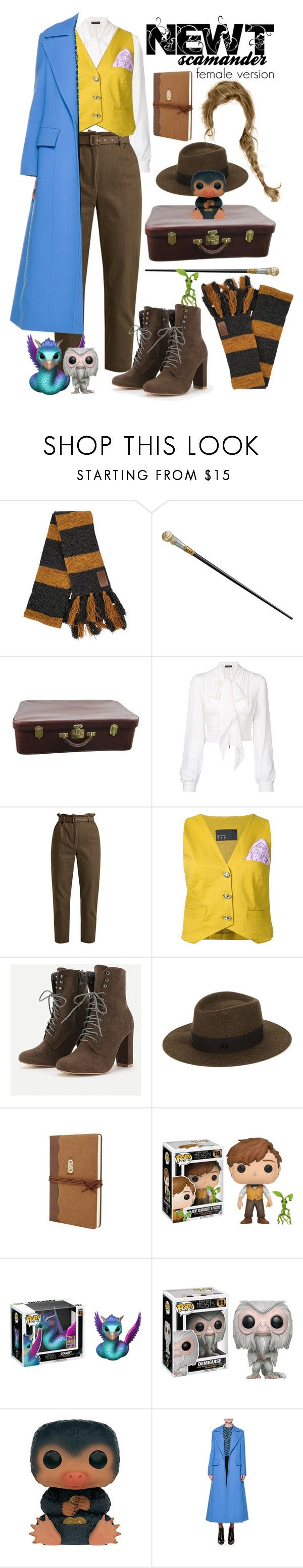 """Female version of Newt Scamander"" by gpatricia ❤ liked on Polyvore featuring Elope, Hermès, Plein Sud, Isa Arfen, N-DUO, Maison Michel, Funko and Marni"