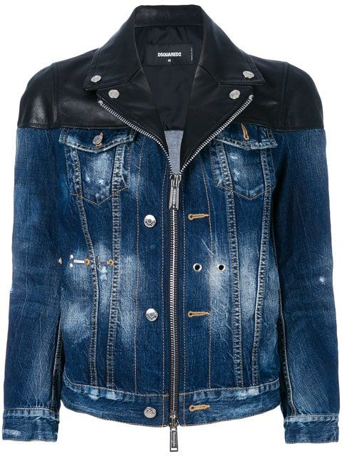 290106978e Dsquared2 zipped denim jacket