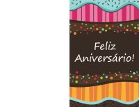 Cartão de aniversário - pontos e listras (infantil, dobrado ao meio)