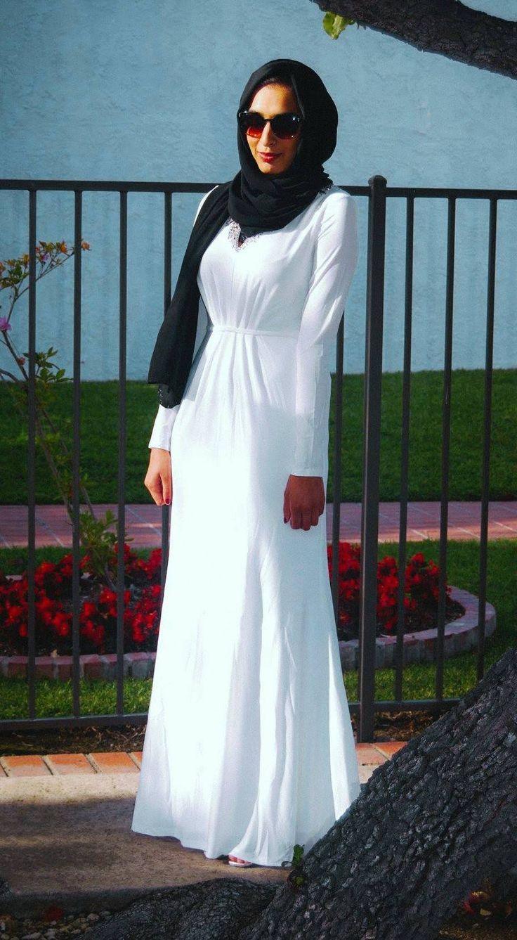 Lined modest white gown with no slits and long sleeves | Shop Mode-sty #nolayering