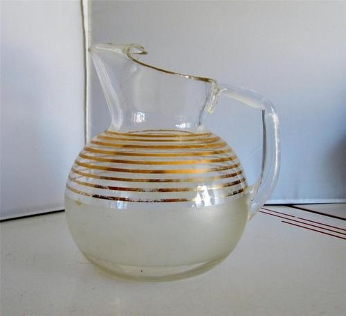 Too Much To Drink Anth: Vintage 1950s Ball Pitcher Gold Stripe Eames Era Mid