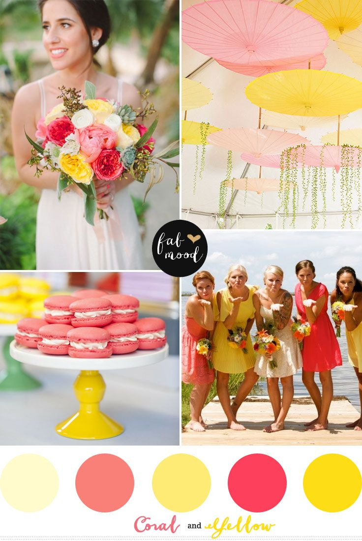 Coral y Amarillo   http://fabmood.com/coral-and-yellow-wedding-colors/