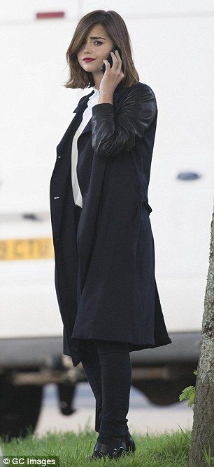 She means business: Although dressed in character, the star cut a very stylish figure...