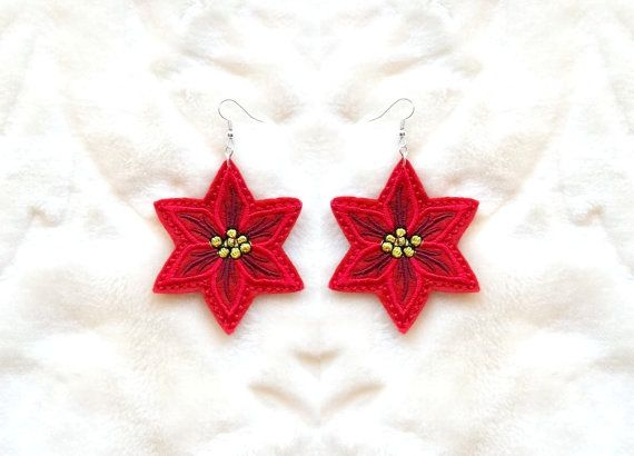 Christmas star - felt - earrings - Machine embroidery digitization./INSTANT DOWNLOAD