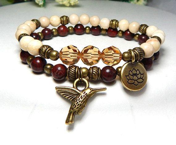 Hummingbird Bracelet, Boho Bracelet, Lotus Flower Charm Bracelet Hummingbird Charm, Beaded Bracelets, Yoga Bracelets, Inspirational Bracelet