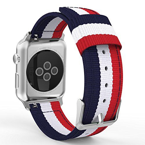 MoKo Band for Apple Watch 38mm, Fine Woven Nylon Adjustable Replacement Band Sport Strap for Apple Watch 38mm Series 1 2015 & Series 2 2016 All Models, Blue & White & Red (Not fit 42mm Versions)  Personalized Your Apple Watch 38mm Series 1 2015 and Series 2 2016 Version with this refined replacement nylon wrist band (Will not fit for 42mm Edition).  Premium nylon material with moderate softness and fine craftwork make it comfortable to wear and durable.  Band comes with Apple Watch Lug...