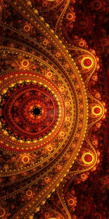 Aalok is an Asian-Indian name meaning Divine Light. This artwork was created in Apophysis and is a fractal flame. You can see the main circular pattern repeated many times.
