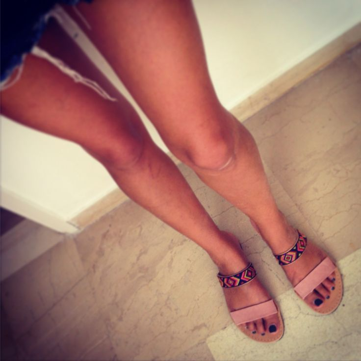 Hanade leather sandals boho style. Feel the love by Rena Xenou
