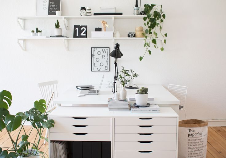 Green Home Office | Green Work Space | Plants | Scandinavian | Ikea Hack
