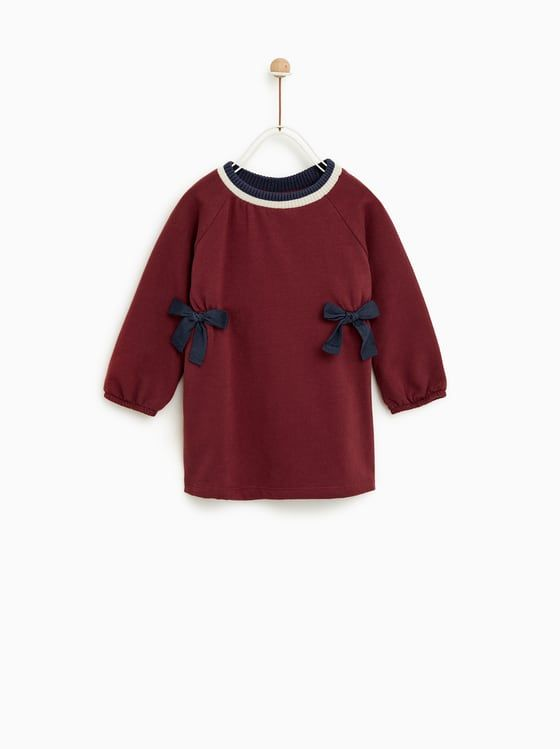 8dc15f15135 ZARA - KIDS - PLUSH JERSEY DRESS WITH BOWS Denim Overalls, Φορέματα Για  Κοριτσάκια,