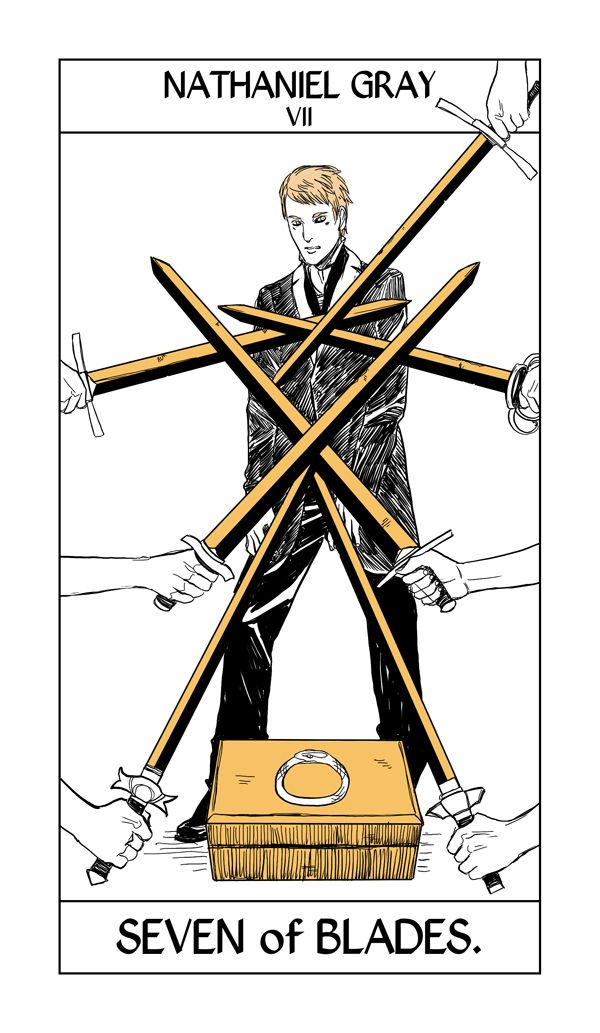 "Nathaniel Gray's Tarot card by Cassandra Jean. The seven of swords can indicate ""someone behaving with less than ethical intentions""."