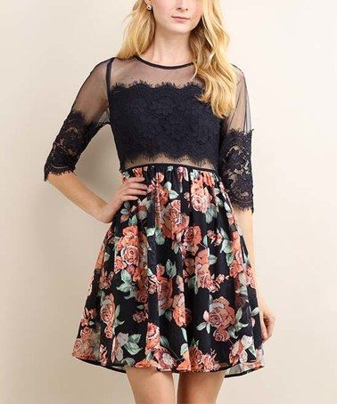 Another great find on #zulily! Navy & Pink Floral Lace-Top A-Line Dress #zulilyfinds