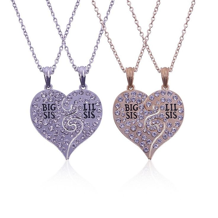 2 PC/Set Big Sis Lil Sis Big Sister Little Sister Best Sister Forever Broken Heart Rhinestone Pendant Necklace Sister Gift