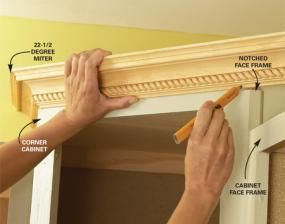 how to install crown molding on kitchen cabinets