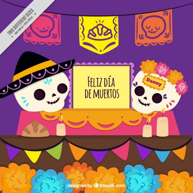 Calaveras mexicanas con guirnaldas Vector Gratis