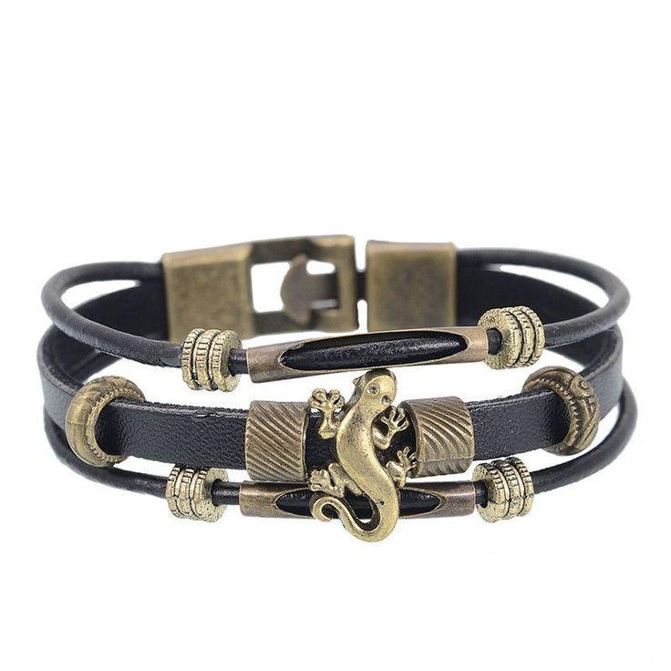 European Men Jewelry Handmade Multilayer Genuine leather Bracelet Vintage Lizard Strand Wrap Charm Bracelets Wristband for Women
