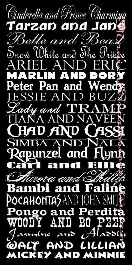 Disney couples names on this subway art print, which can be personalized, from Etsy. #disney #subwayart