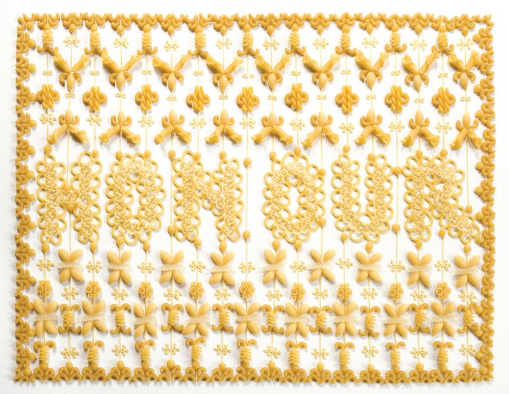 Marian Bantjes, Honour, image from the book I Wonder, created from pasta | #graphic #design #mudac #typography #wunderkammer