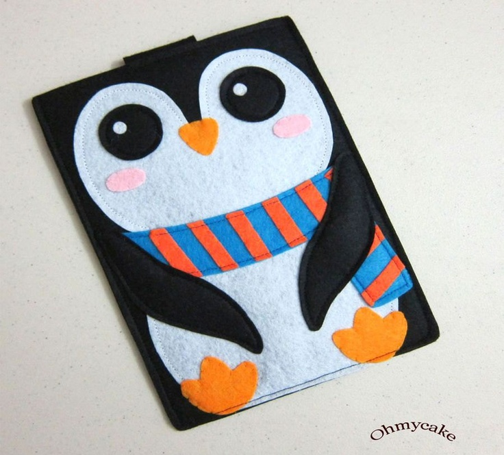 "iPad case - iPad and purse - iPad bag - iPad covers - iPad Sleeve - Handmade felt iPad Sleeve - "" Kawaii Penguin "" Design. $38.00, via Etsy."
