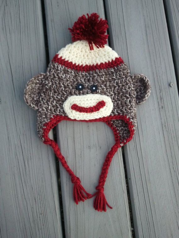 Sock Monkey Hat  Baby Sock Monkey Hat Infant by TheWhimsicalStudio, $19.50