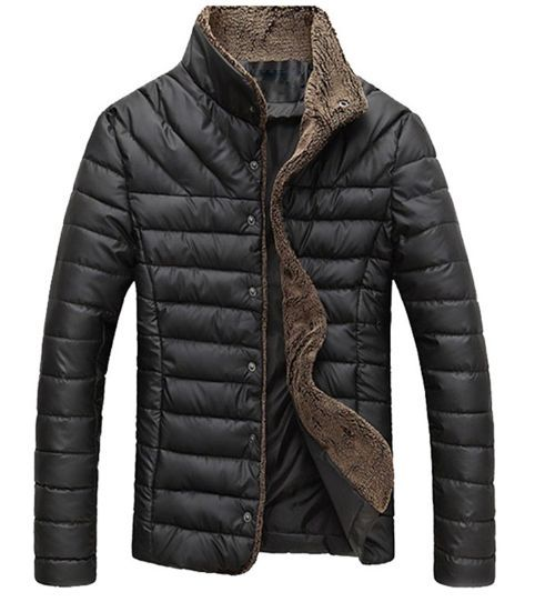 Men Winter Jacket Warm Casual All-match Single Breasted Solid Men Coat Popular Coat Two Colors