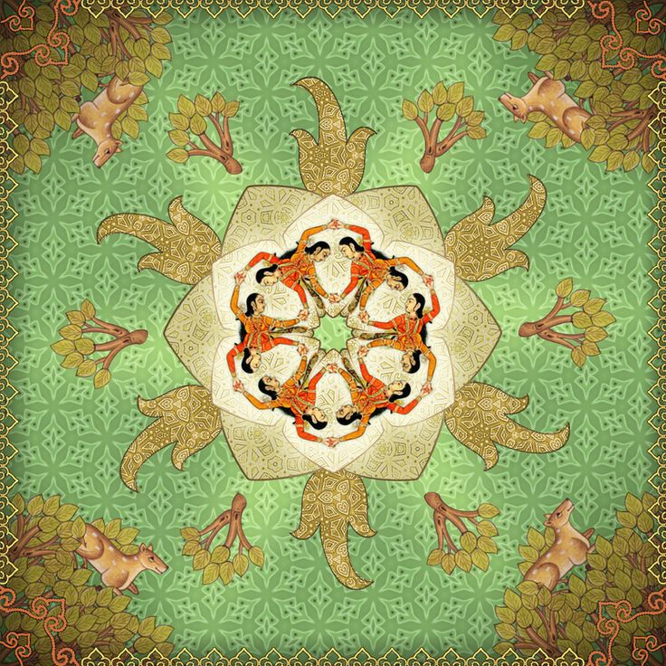 """Mughal circle"" Mainly digital collage, featuring pieces of mughal paintings. Patterns in the picture are my own."