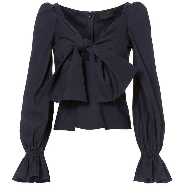 Intermix Women's Maya Bow Front Top ($250) ❤ liked on Polyvore featuring tops, navy, smocked top, off the shoulder flounce top, long sleeve tops, knot top and navy off the shoulder top