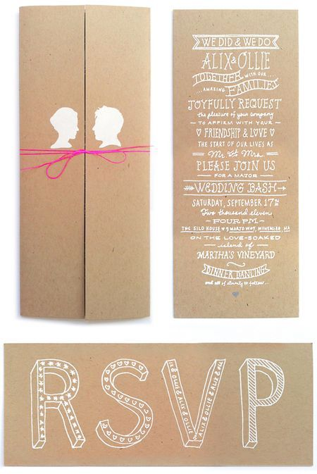 a little dash of whimsy goes a long way with paper goods: Crafts Paper, Kraft Paper, Brown Paper, Paper Good, Hands Letters, Invitations Idea, Weddings Invitations, Hands Drawn, White Ink
