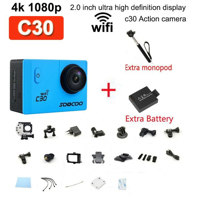 2016 new extra monopod and battery new camera SOOCOO C30 Wifi Ultra HD 2K Adjustable Waterproof Outdoor Sports Action Camera US $90.64 To Buy Or See Another Product Click On This Link  http://goo.gl/EuGwiH