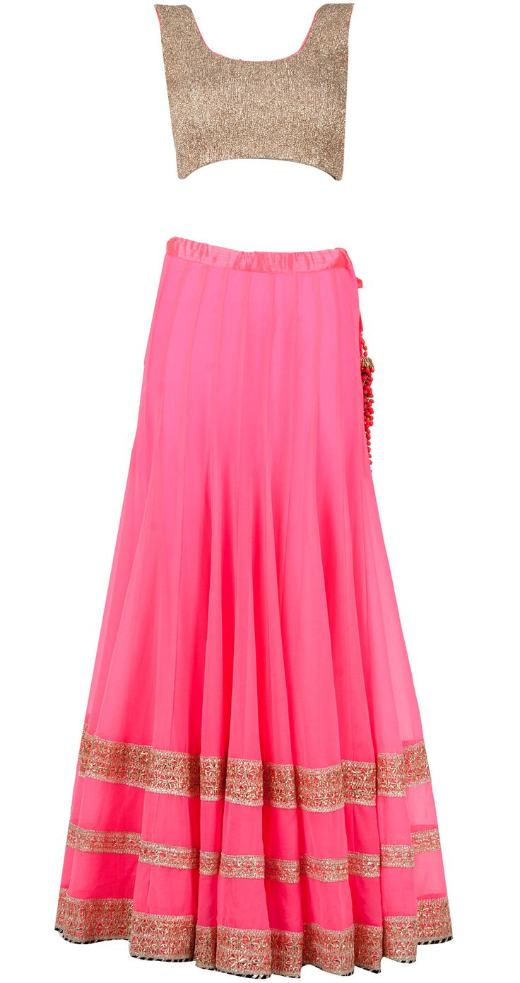 Neon pink lehenga with dull gold crushed blouse by SONAL KALRA AHUJA. Shop now only at www.perniaspopupshop.com! #sonalkalraahuja #neon #pink #lehenga #gold #ethnic #perniaspopupshop #designer #fashion #style #chic #trendy #clothes #shopnow #happyshopping