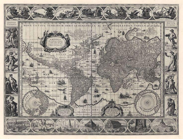 карта мира, немецкая карта мира,старая карта мира