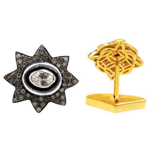 New 925 Sterling Silver Pave 1.2ct Diamond Men's Jewelry FLORAL Design Cufflinks #Handmade