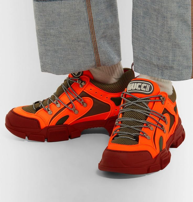 Gucci Flashtrek Reflective Rubber, Leather and Mesh