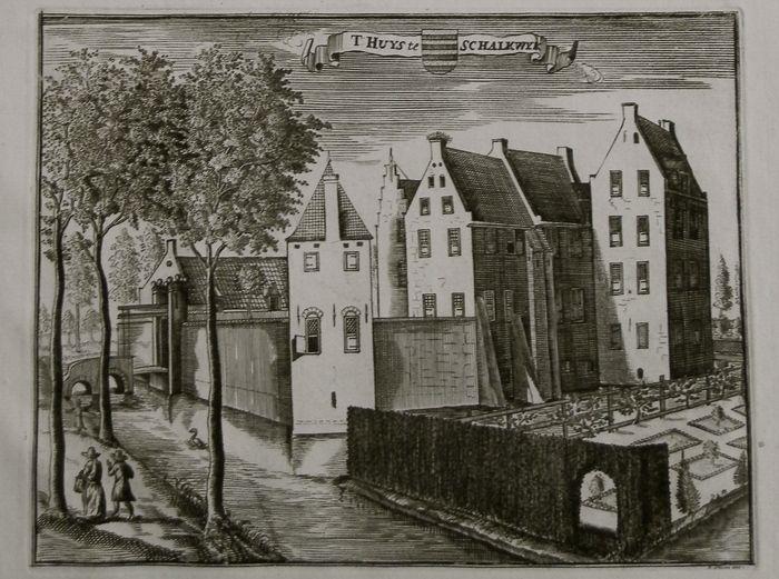 Huis te Schalkwijk, in: R. en J. Ottens, Het Verheerlykt Utrecht, Vertoont in de Afbeeldingen der Adelyke en Riddermatige Hofsteden, Gelegen In de Heerlykheid van Utrecht - Amsterdam, R. en J. Ottens, 1730