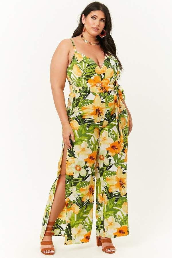 708786b719e1a Forever 21 Plus Size Tropical Floral Print Jumpsuit   plussizesummeroutfitideas  plussizesummer2018  plussizeoutfits  plussize   plusisequal