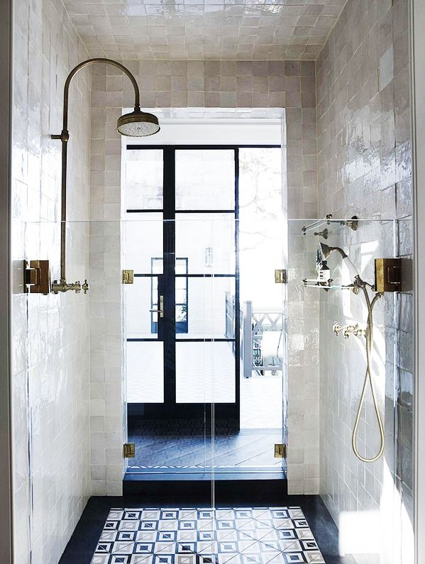 Beautiful bathroom, love the shiny glaze and the pattern floor, and dark paned windows #bathroom #bathdesign #interiordesign #shower #steamshower #luxurybath #health #wellness