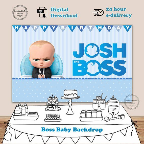 Boss Baby Backdrop Boss Baby Backdrop Birthday Backdrop Baby