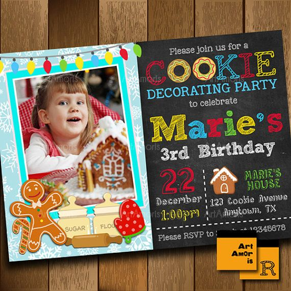 Birthday Invitation Cookie Decorating Invitation by ArtAmoris