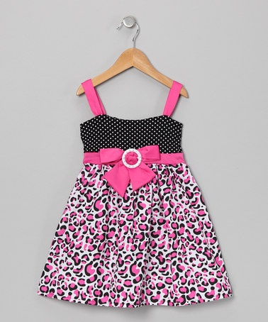 Take a look at this Pink Leopard Bow Dress - Toddler & Girls by Longstreet on #zulily today!