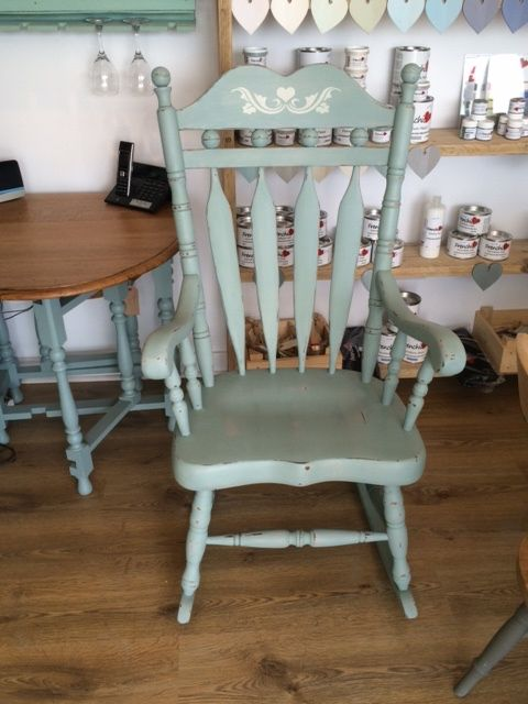 Vintage rocking chair painted in Frenchic Chalk and Mineral Paint in Mother Duck and dark waxed.