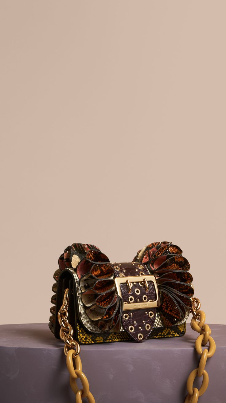 The Ruffle Buckle Bag in Snakeskin, Ostrich and Check Natural | Burberry