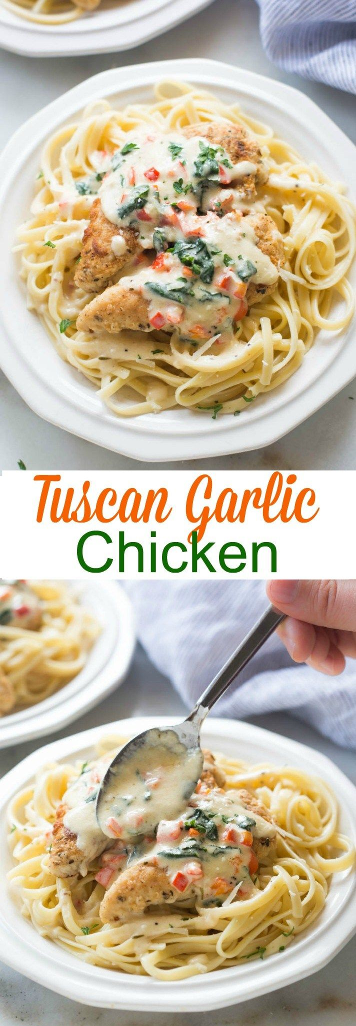 Tuscan Garlic Chicken is a family favorite! Tender and juicy crusted chicken served over noodles with a delicious creamy tuscan garlic sauce.  tastesbetterfromscratch.com