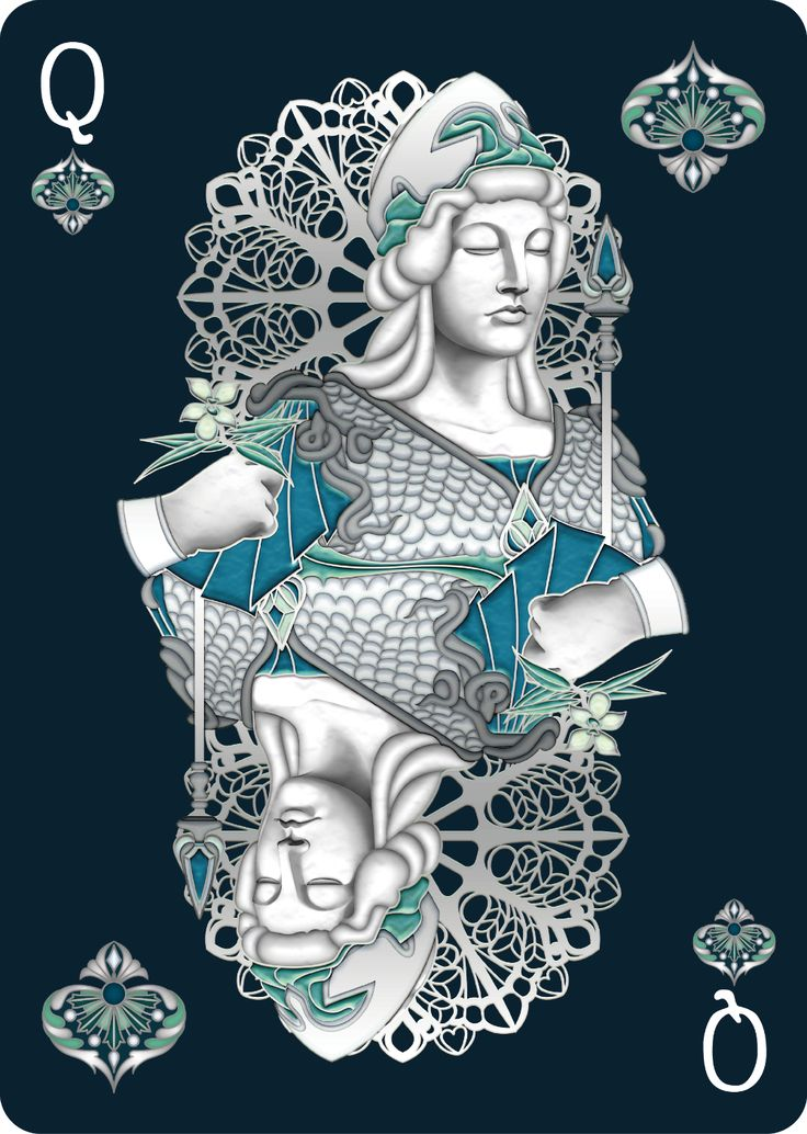 Nouveau PERLE Queen of Spades - playing cards art, game, playing cards collection, playing cards project, cards collectors, design, illustration, card game, game, cards, cardist, cardistry, bijoux, jewelry