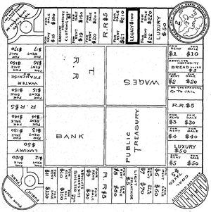 Lizzy Magie's original board design for the Landlord's Game, which she patented…