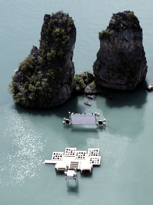 Floating movie theatre in Yao Noi, Thailand.