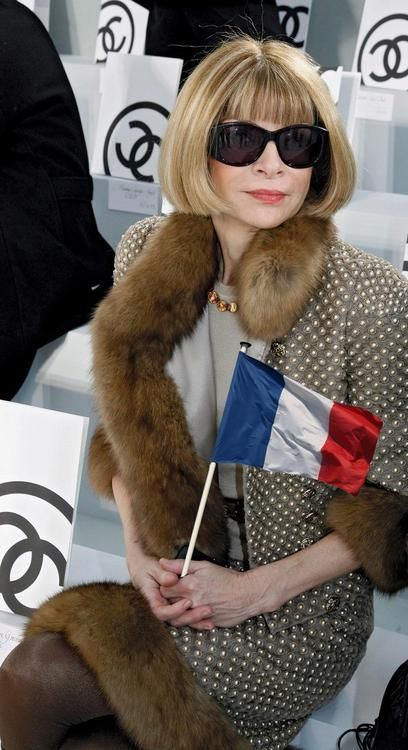 Anna Wintour in Chanel. She absolutely gorgeous. I love her in Chanel. One day I hope she, or so like her, will wear one of my designs.
