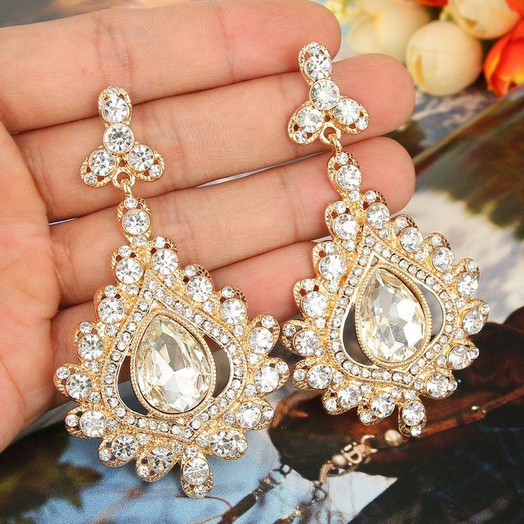 18K Gold GP Flower Pierced Dangle Earring Clear Rhinestone Crystal Gold Tone in Jewelry & Watches, Fashion Jewelry, Earrings | eBay