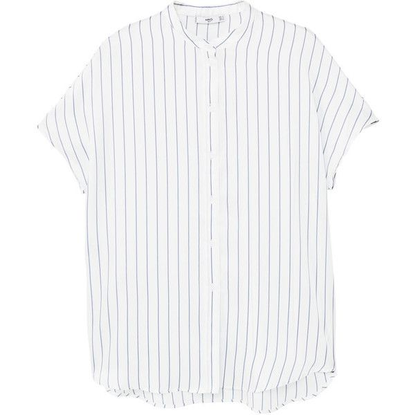 Striped Mao Collar Shirt (49 AUD) ❤ liked on Polyvore featuring tops, white short sleeve shirt, side slit shirt, white striped shirt, white top and side slit top