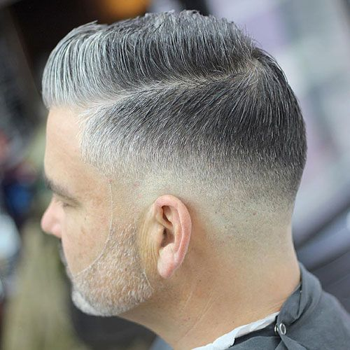 Low Skin Fade + Hard Side Part + Beard