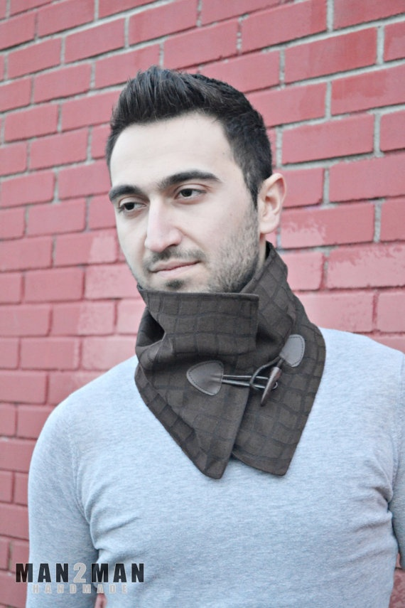 Brown Alcantara Stylish Unisex Scarf / Neckwarmer - Father's Day Perfect Gift - Handmade